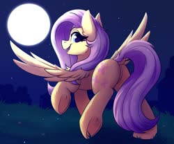 Size: 1500x1250 | Tagged: safe, artist:shadowreindeer, fluttershy, pegasus, pony, butt, cute, dock, female, frog (hoof), grass, looking back, mare, moon, night, plot, raised tail, shyabetes, smiling, solo, spread wings, stars, tail, underhoof, wings