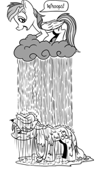 Size: 675x1200 | Tagged: safe, artist:pony-berserker, applejack, rainbow dash, earth pony, pegasus, pony, applejack is not amused, duo, female, grayscale, mare, monochrome, pony-berserker's twitter sketches, prank, rain, rainbow douche, simple background, speech bubble, stippling, unamused, weather control, wet, wet mane, white background