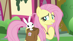 Size: 1920x1080 | Tagged: safe, screencap, angel bunny, fluttershy, she talks to angel, spoiler:s09e18, bag, saddle bag