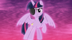 Size: 1600x900 | Tagged: safe, artist:jhayarr23, artist:sailortrekkie92, twilight sparkle, alicorn, pony, friendship university, disguise, eyepatch, eyepatch (disguise), female, mare, palindrome get, solo, twilight sparkle (alicorn), wallpaper, wings