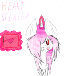 Size: 2000x2000   Tagged: safe, artist:prismicdiamondart, oc, oc only, pony, unicorn, glowing horn, grin, hair over one eye, heart, horn, letter, magic, messy many, smiling, telekinesis, unicorn oc