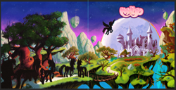 Size: 1318x673 | Tagged: safe, artist:docwario, applejack, fluttershy, pinkie pie, rainbow dash, rarity, twilight sparkle, earth pony, pegasus, unicorn, friendship is magic, album, album cover, bridge, castle, castle of the royal pony sisters, full moon, mane six, moon, rope bridge, tree, unicorn twilight