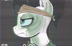 Size: 1060x675 | Tagged: safe, artist:waffletheheadmare, oc, oc only, oc:wafflehead, angry, bandage, bandana, black hair, blue eyes, bust, clothes, ear piercing, eyelashes, face paint, female, hair tie, jewelry, mare, necklace, piercing, portrait, shirt, simple background, soldier, vhs, vietnam war, white coat