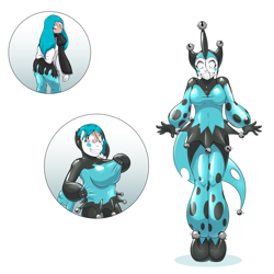 Size: 1280x1280 | Tagged: safe, artist:helixjack, queen chrysalis, human, bondage, clothes, encasement, female, forced smile, humanized, jester, living latex, simple background, transformation, transformation sequence, white background