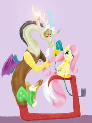 Size: 1800x2400 | Tagged: safe, artist:pinstriped-pajamas, discord, fluttershy, draconequus, pegasus, pony, blushing, discoshy, female, folded wings, hair dryer, hair styling, hoof shoes, indoors, jewelry, looking at each other, male, mane styling, mare, peytral, princess fluttershy, regalia, shipping, sitting, smiling, straight, wall socket, wings