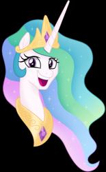 Size: 4500x7262 | Tagged: safe, artist:negatif22, princess celestia, alicorn, pony, bust, female, meme, open mouth, portrait, simple background, smiling, solo, transparent background, trollface, vector