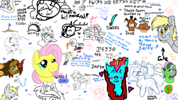 Size: 1920x1080 | Tagged: safe, artist:cutepencilcase, artist:fluffyxai, artist:jennithedragon, artist:rockiesmith, artist:sketch-leaderboard, derpy hooves, fluttershy, princess celestia, princess luna, oc, oc:bit rate, oc:earthen spark, oc:grassy blade, crab, deer, earth pony, kirin, pegasus, unicorn, aggie.io, chibi, cute, drawpile disasters, food, gun, muffin, ponyfest, ponyfest online, silly, sword, taco, text, weapon