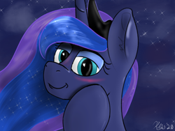 Size: 1600x1200 | Tagged: source needed, safe, artist:kalashnikitty, princess luna, alicorn, pony, blushing, colored sketch, cute, ethereal mane, female, galaxy mane, looking at you, mare, night, night sky, sky, smiling, smirk, solo, someone boop this pony
