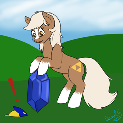 Size: 1500x1500 | Tagged: safe, artist:darnelg, blaze (coat marking), bombchu, epona, female, mare, rupee, socks (coat marking), the legend of zelda, triforce