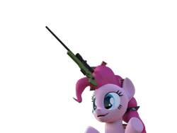 Size: 1600x1200 | Tagged: safe, artist:marcelexe, pinkie pie, pony, 3d, blender, gun, rifle, simple background, sniper rifle, solo, transparent background, wat, weapon