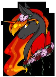 Size: 1808x2480 | Tagged: safe, artist:oneiria-fylakas, oc, oc:fire drift, alicorn, pony, bust, female, flower, mare, portrait, simple background, solo, transparent background