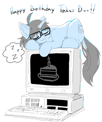 Size: 2757x3312 | Tagged: safe, artist:detectiveneko, oc, oc only, oc:tinker doo, birthday, cake, computer, food, glasses, male, sleeping, solo