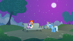 Size: 3200x1801 | Tagged: safe, artist:jeatz-axl, artist:jerryakiraclassics19, artist:jhayarr23, artist:mandydax, starlight glimmer, sunburst, trixie, pony, bench, butt, eyes closed, female, male, mare, moon, night, plot, ponies sitting next to each other, sitting, stallion, tree, trio