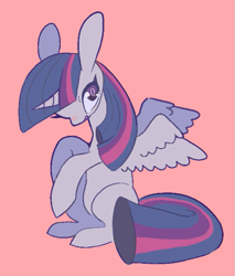 Size: 555x651 | Tagged: safe, artist:mesqrit, twilight sparkle, alicorn, pony, blushing, colored pupils, cute, female, mare, pink background, simple background, sitting, solo, spread wings, twiabetes, twilight sparkle (alicorn), wings