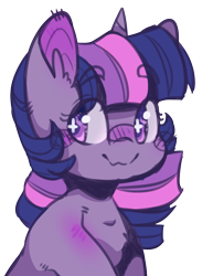 Size: 696x900 | Tagged: safe, artist:twic0rd, twilight sparkle, pony, unicorn, blushing, bust, chest fluff, colored pupils, cute, ear fluff, eyebrows visible through hair, female, mare, simple background, smiling, solo, transparent background, twiabetes, unicorn twilight