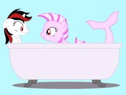 Size: 2048x1536 | Tagged: safe, artist:draymanor57, oc, oc only, oc:blackjack, oc:pisces zodiac, pony, sea pony, unicorn, fallout equestria, fallout equestria: project horizons, bathtub, fanfic art, scared, simple background