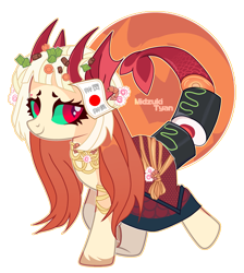 Size: 2165x2414   Tagged: safe, artist:woofri, oc, oc only, oc:akemi (ide1517), fish, pony, sea pony, augmented tail, clothes, colored sclera, dress, ear piercing, earring, food, jewelry, markings, nonbinary, piercing, raised hoof, raised leg, regalia, simple background, skirt, solo, sushi, transparent background, unshorn fetlocks