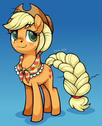 Size: 2180x2672 | Tagged: safe, artist:moonseeker, applejack, earth pony, pony, the last problem, spoiler:s09e26, applejack's hat, blushing, cowboy hat, cute, female, granny smith's scarf, hat, mare, older, older applejack, solo