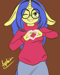 Size: 4000x5000 | Tagged: safe, artist:saphier, oc, oc only, oc:logical leap, unicorn, anthro, anthro oc, clothes, colored, female, flat colors, floppy ears, glasses, heart hands, looking at you, one eye closed, simple background, skirt, smiling, solo, sweater, wink, winking at you, ych result