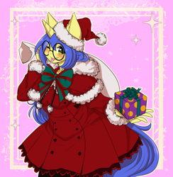 Size: 4000x4092 | Tagged: safe, artist:nemu majo, oc, oc only, oc:logical leap, anthro, unicorn, abstract background, anthro oc, bow, capelet, christmas, clothes, female, glasses, hat, holiday, mare, one eye closed, present, sack, santa hat, tongue out, wink, ych result