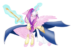 Size: 2052x1410 | Tagged: safe, artist:mysteriousshine, princess cadance, alicorn, pony, armor, cloak, clothes, female, glowing horn, heterochromia, horn, magic, mare, simple background, solo, sword, telekinesis, weapon, white background