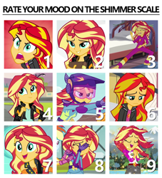 Size: 1000x1100 | Tagged: safe, edit, edited screencap, screencap, sunset shimmer, driving miss shimmer, equestria girls, equestria girls (movie), friendship games, legend of everfree, rainbow rocks, spoiler:eqg series, bedroom eyes, book, chart, cropped, cute, excited, facepalm, karate, motorcycle, rageset shimmer, screaming, shimmerbetes, singing, want