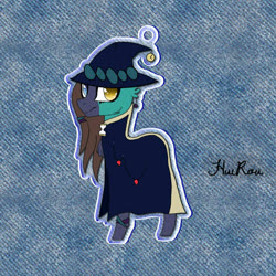 Size: 1368x1368 | Tagged: safe, artist:deadpoolnumbuh1, oc, oc only, earth pony, pony, abstract background, base used, cloak, clothes, earth pony oc, hat, heterochromia, signature, solo, witch hat
