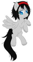 Size: 909x1703 | Tagged: safe, artist:homumu, oc, oc only, pegasus, pony, chest fluff, hairband, pegasus oc, rearing, simple background, smiling, transparent background, unshorn fetlocks, wings