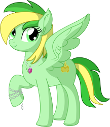 Size: 5930x6824 | Tagged: safe, artist:cyanlightning, oc, oc:lefty greens, pegasus, pony, .svg available, absurd resolution, chains, commission, cute, ear fluff, female, jewelry, looking at you, mare, pendant, simple background, solo, spread wings, transparent background, vector, wings