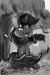 Size: 2000x3000 | Tagged: safe, artist:euspuche, oc, oc only, oc:scoot, unicorn, black and white, grayscale, looking up, monochrome, smiling, solo, tree