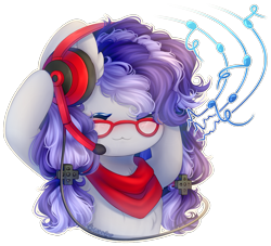 Size: 1641x1492 | Tagged: safe, artist:sweesear, oc, oc only, oc:cinnabyte, adorkable, bandana, chibi, cute, dork, eyes closed, gaming headset, glasses, headset, icon, listening to music