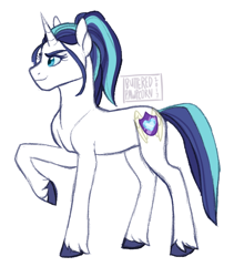 Size: 512x608 | Tagged: safe, artist:butteredpawpcorn, oc, oc only, oc:princess valiance, pony, unicorn, female, mare, not gleaming shield, offspring, parent:princess cadance, parent:shining armor, parents:shiningcadance, raised hoof, simple background, solo, unshorn fetlocks, white background