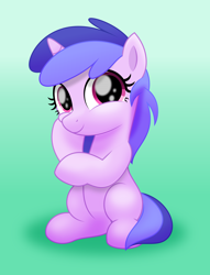 Size: 5500x7215 | Tagged: safe, artist:jhayarr23, sea swirl, seafoam, pony, unicorn, background pony, commission, cute, female, filly, gradient background, green background, seadorable, simple background, sitting, solo, younger