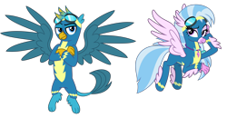 Size: 7500x3893 | Tagged: safe, artist:cheezedoodle96, gallus, silverstream, classical hippogriff, griffon, hippogriff, uprooted, .svg available, alternate hairstyle, blue, clothes, crossed arms, cute, diastreamies, dream sequence, duo, feathered fetlocks, female, flying, gallabetes, gallstream, goggles, griffon wonderbolt, hippogriff wonderbolt, jewelry, lidded eyes, looking at you, male, necklace, non-pegasus wonderbolt, paws, raised eyebrow, scene interpretation, shipping, simple background, smiling, smirk, spread wings, straight, svg, transparent background, uniform, vector, wings, wonderbolt gallus, wonderbolt silverstream, wonderbolts, wonderbolts uniform