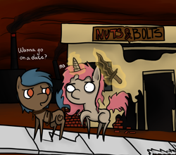 Size: 1030x907 | Tagged: safe, artist:priorknight, oc, oc only, oc:whiplash, oc:wicked slit, earth pony, pony, unicorn, fallout equestria, fallout equestria: murky number seven, bags under eyes, building, chibi, dialogue, duo, earth pony oc, fanfic art, glowing horn, horn, magic, raised hoof, rope, shipping denied, sword, telekinesis, unicorn oc, weapon