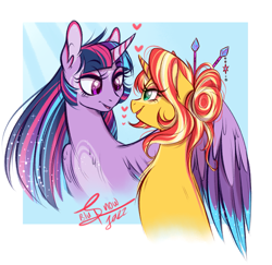 Size: 2325x2257 | Tagged: safe, artist:snowballflo, artist:truebluflo, sunset shimmer, twilight sparkle, alicorn, pony, unicorn, alternate hairstyle, blue background, coat markings, colored wings, colored wingtips, cute, eye contact, female, floating heart, hair bun, heart, hug, lesbian, lidded eyes, looking at each other, mare, multicolored hair, shimmerbetes, shipping, signature, simple background, smiling, sunsetsparkle, twiabetes, twilight sparkle (alicorn), winghug, wings