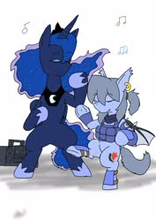 Size: 1451x2048   Tagged: safe, alternate version, artist:omegapony16, princess luna, oc, oc:oriponi, bat pony, pony, armor, bat pony oc, bipedal, boombox, clothes, colored, dancing, duo, ear piercing, earring, ethereal mane, eyes closed, female, hoof shoes, jewelry, mare, music notes, peytral, piercing, radio, scarf, signature, simple background, soldier, starry mane, tiara, underhoof, vest, white background