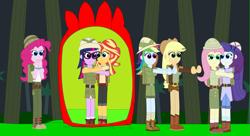 Size: 3479x1899   Tagged: safe, artist:eli-j-brony, applejack, fluttershy, pinkie pie, rainbow dash, rarity, sci-twi, sunset shimmer, twilight sparkle, equestria girls, clothes, explorer outfit, hat, hug, humane five, humane seven, humane six, jungle, pith helmet, plant, scared