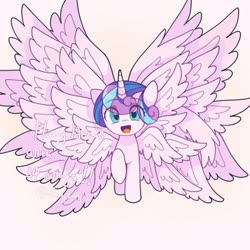 Size: 1024x1024 | Tagged: safe, artist:twily27889053, princess flurry heart, alicorn, pony, seraph, seraphicorn, eye clipping through hair, multiple wings, one hoof raised, simple background, solo, wings