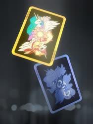 Size: 3000x4000 | Tagged: safe, artist:emerald-light, daybreaker, nightmare moon, princess celestia, princess luna, alicorn, pony, duality, eyes closed, joker, playing card, royal sisters