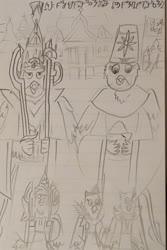 Size: 1280x1921 | Tagged: safe, artist:horsesplease, gabby, gallus, oc, oc:banzrenai, oc:glausharez, oc:lonkatroz, axe, constructed language, doodle, emperor, empress, female, gabbus, khopesh, king gallus, male, parents:gabbus, prince, princess, queen gabby, rabydosverse, sarmelonid, shipping, straight, sword, traditional art, vozonid, weapon