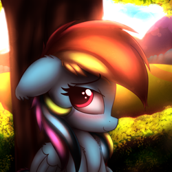 Size: 2500x2500 | Tagged: safe, artist:heavymetalbronyyeah, rainbow dash, pegasus, pony, blushing, chest fluff, cute, dashabetes, ear fluff, female, floppy ears, heart eyes, high res, leg fluff, mare, profile, solo, tree, under the tree, wingding eyes