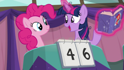 Size: 1920x1080 | Tagged: safe, screencap, pinkie pie, twilight sparkle, alicorn, a trivial pursuit, spoiler:s09e16, book, messy mane, twilight sparkle (alicorn)