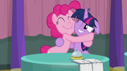 Size: 1920x1080 | Tagged: safe, screencap, pinkie pie, twilight sparkle, alicorn, earth pony, pony, a trivial pursuit, spoiler:s09e16, bell, cheek squish, cute, diapinkes, duo, eyes closed, female, floppy ears, friends, hug, mare, messy mane, smiling, squishy cheeks, team twipie, trivia trot, twiabetes, twilight sparkle (alicorn)