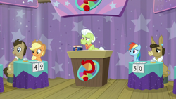 Size: 1920x1080 | Tagged: safe, screencap, applejack, doctor whooves, granny smith, matilda, rainbow dash, time turner, a trivial pursuit