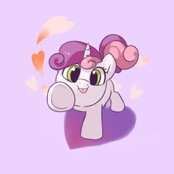 Size: 1447x1447 | Tagged: safe, artist:drtuo4, sweetie belle, pony, unicorn, cute, diasweetes, female, filly, heart, hnnng, looking at you, solo, tongue out, underhoof, weapons-grade cute