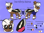 Size: 1600x1200 | Tagged: safe, artist:stemthebug, oc, oc only, oc:stem bedstraw, hybrid, moth, mothpony, original species, cute, male, outfit, reference sheet