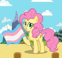 Size: 1280x1193 | Tagged: safe, artist:cherylblackberrychan, artist:mewtwo-ex, artist:shootingstaryt, artist:yuettung116, li'l cheese, spoiler:s09e26, base used, cute, graveyard of comments, grin, male, older, older li'l cheese, pride, pride flag, raised hoof, smiling, solo, stallion, trans boy, trans li'l cheese, transgender, transgender pride flag