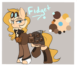 Size: 1406x1238   Tagged: safe, artist:beardie, oc, oc only, oc:fidget, earth pony, pony, aviator goggles, bag, boots, character design, clothes, commission, equine, female, goggles, gray background, jacket, lidded eyes, mare, reference sheet, saddle bag, shoes, simple background, solo