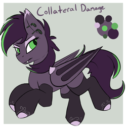 Size: 962x965 | Tagged: safe, artist:beardie, oc, oc only, oc:collateral damage, bat pony, pony, bat pony oc, bat wings, character design, commission, ear piercing, equine, eyeshadow, fangs, lidded eyes, makeup, membranous wings, piercing, reference sheet, simple background, socks (coat marking), solo, wings